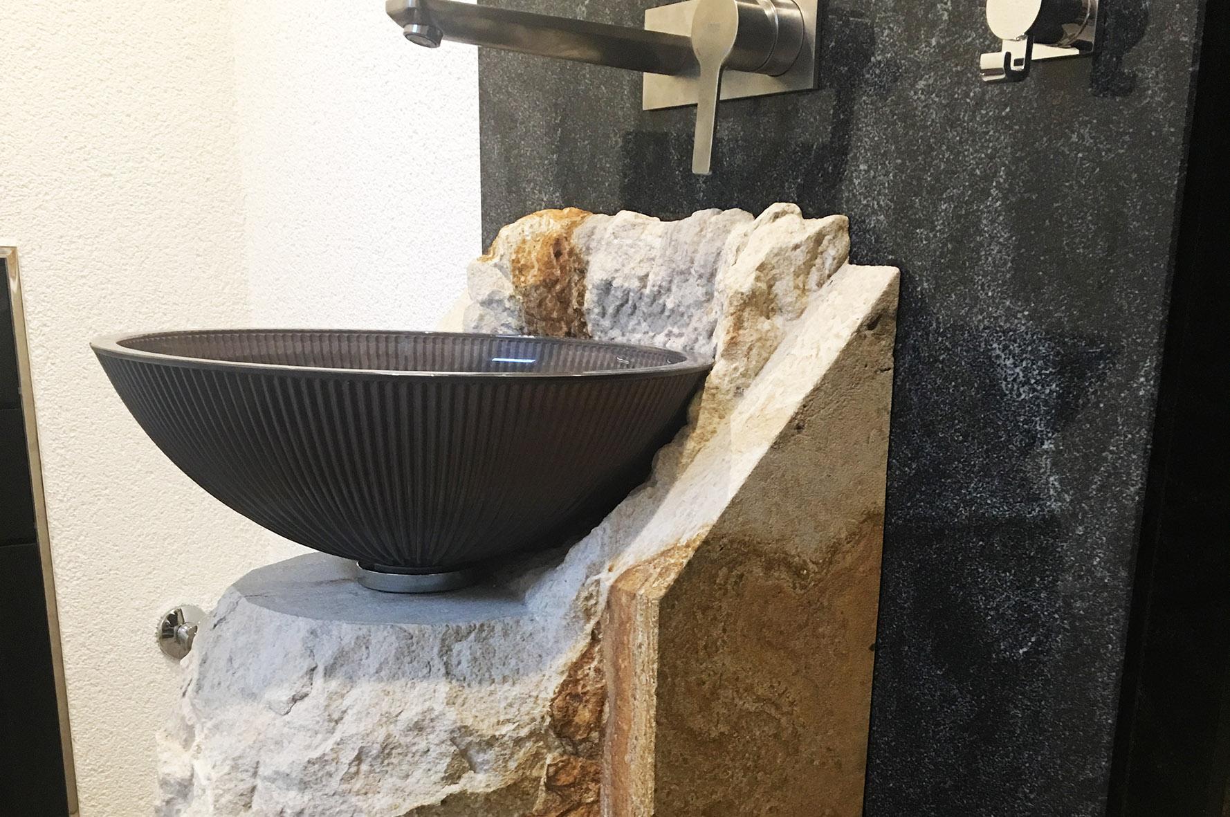 Waschbecken Glas-Sandstein-Granit